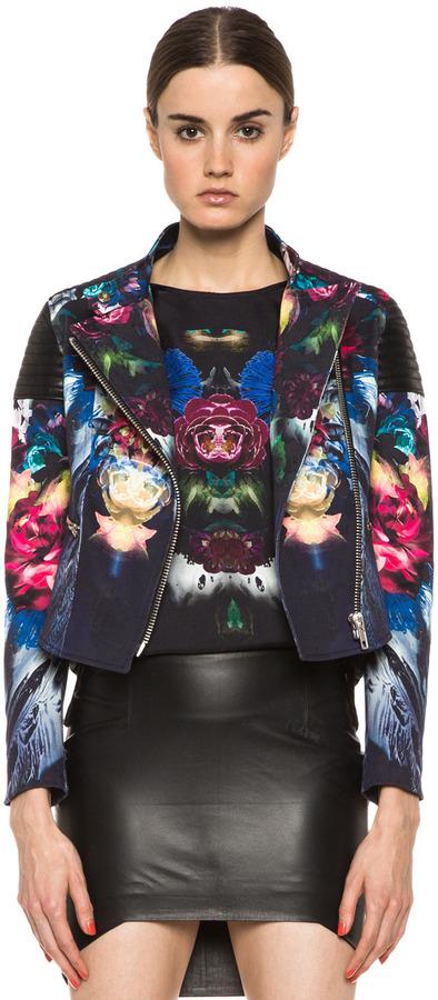 NICHOLAS Digi Floral Cotton-Blend Moto Jacket in Black Multi