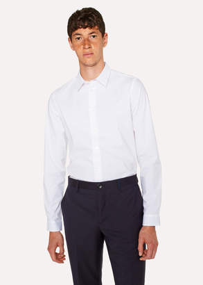 Paul Smith Men's White Stretch-Cotton Shirt With 'Cycle Stripe' Cuff Lining