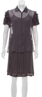 Rena Lange Chiffon Knee-Length Skirt Set