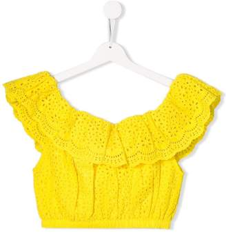 MSGM Kids broderie anglaise top