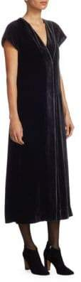 Akris Punto V-Neck Velvet Midi Dress