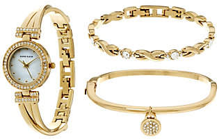 Anne Klein As Is Anne Klein Crystal Bangle Watch and Bracelet Set