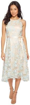 Tahari ASL Petite Embroidered Mesh Midi Dress Women's Dress