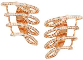 Hueb Diamond 18K Rose Gold Wave Cuff Earrings