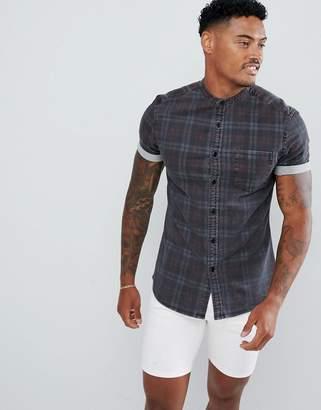 4ab1935ea9b Asos Design DESIGN skinny denim check shirt in gray with grandad collar