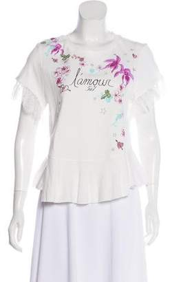 Cinq à Sept Embroidered Short Sleeve Top