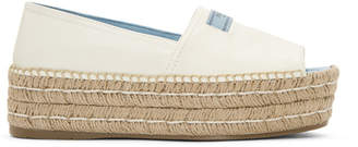 Prada White Leather Platform Espadrilles