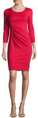 Armani Collezioni Ruched 3/4-Sleeve Sheath Dress, Red $825 thestylecure.com