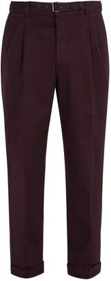 Prada Belted stretch-cotton chino trousers