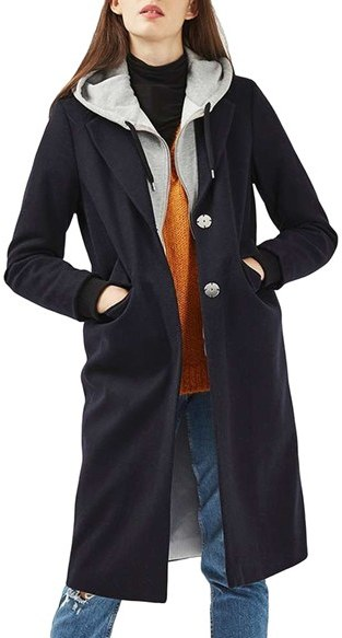 TopshopWomen's Topshop Hooded Layer Wool Blend Coat