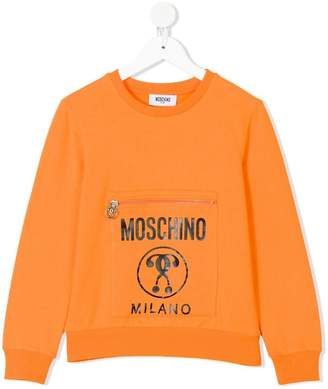 Moschino Kids logo pocket sweatshirt