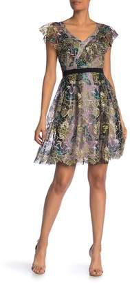 Donna Morgan Embroidered Tulle V-Neck A-Line Dress