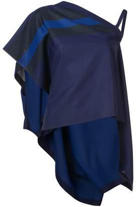 Issey Miyake 132 5. flat stripe one shoulder blouse