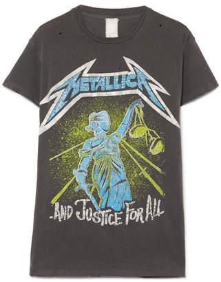 MadeWorn Metallica Embellished Distressed Printed Cotton-jersey T-shirt - Charcoal
