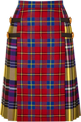Versace Leather-trimmed Tartan Wool Skirt - Red