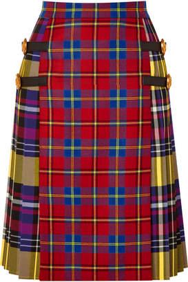 Versace Leather-trimmed Tartan Wool Skirt - Red
