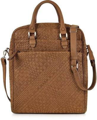 Forzieri Brown Woven Suede Vertical Messenger Bag
