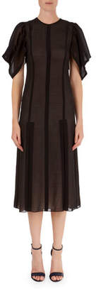 Victoria Beckham Elbow-Sleeve Lace Midi Dress