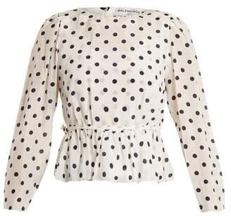 Balenciaga Uplifted Silk Charmeuse Top - Womens - White Navy