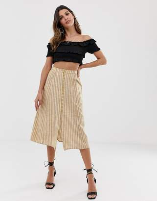 Asos Design DESIGN midi skirt with button front in cream stripe