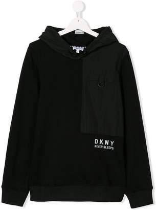 DKNY TEEN panelled hoodie