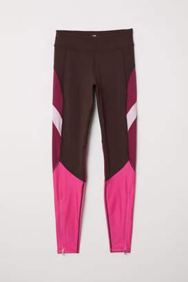 H&M Color-block Sports Tights - Purple