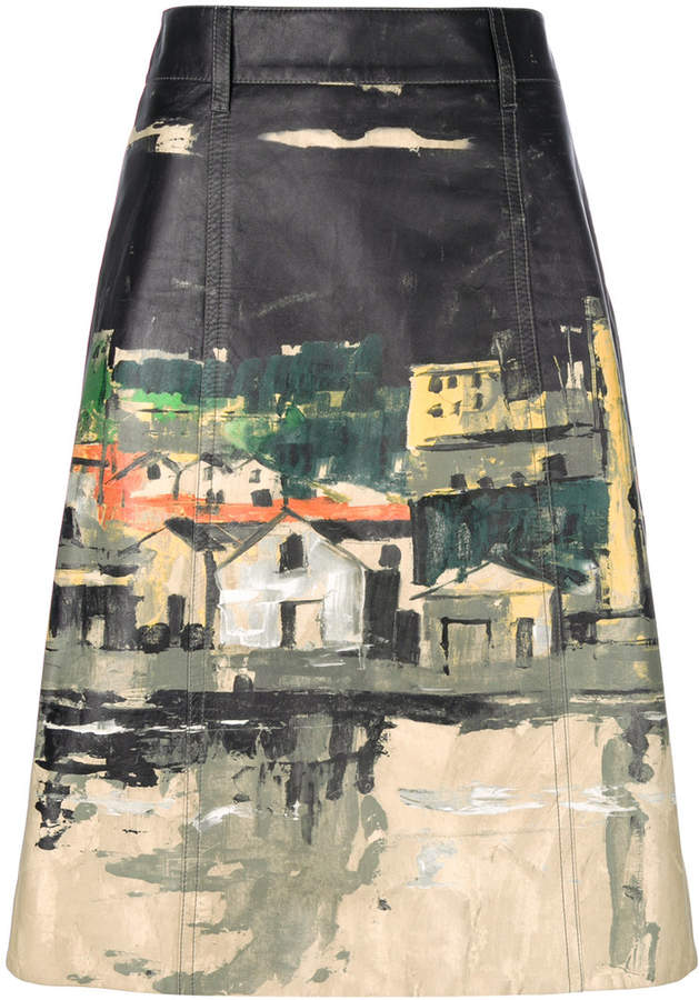 Prada village print midi skirt