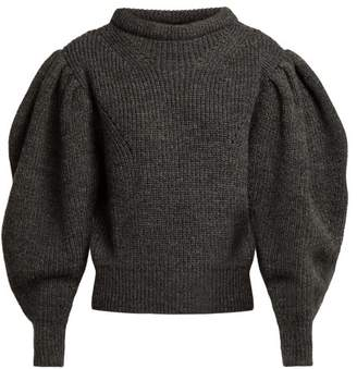 Isabel Marant Brettany Ribbed Knit Wool Sweater - Womens - Dark Grey