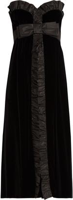 MIU MIU Bow-front strapless silk-faille trim velvet dress