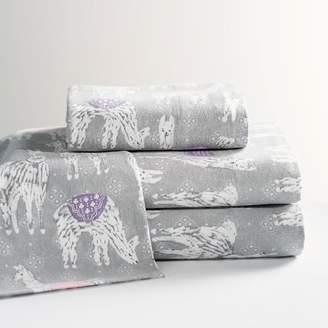 Pottery Barn Teen Winter Festive Llama Flannel Sheet Set, Queen, Multi