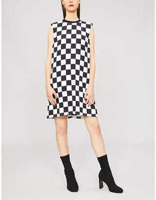 Versace Chequered-print crepe dress