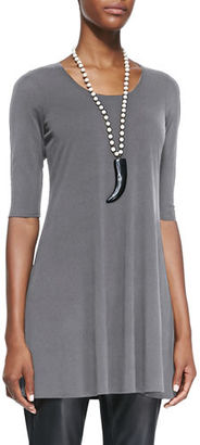 Eileen Fisher Half-Sleeve Silk Jersey Tunic $178 thestylecure.com