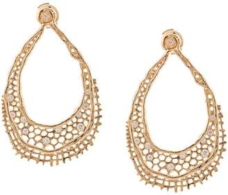 Aurelie Bidermann 18kt yellow gold & diamond lace earrings