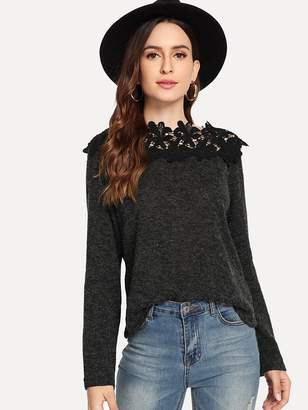 Shein Contrast Lace Solid Jumper