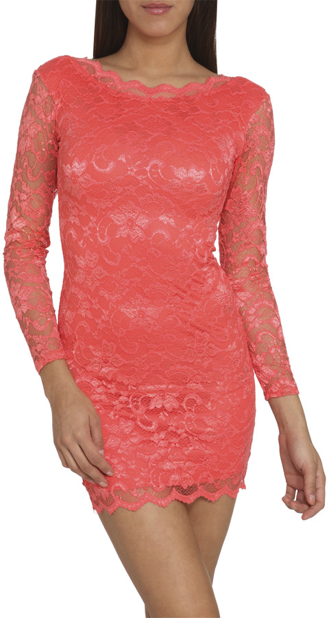 Arden B Scallop Lace Mini Dress