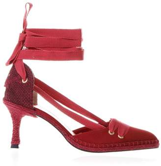 Manolo Blahnik Castañer By Castaner by Red Satin And Juta Espadrilles With Heels