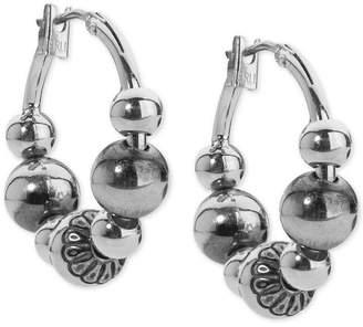 American West Beaded Hoop Earrings in Sterling Silver