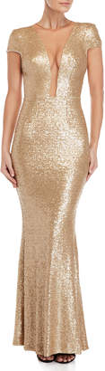 Dress the Population Michele Metallic Illusion Neckline Sequin Gown