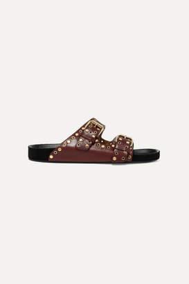 Isabel Marant Lennyo Studded Leather Slides - Burgundy
