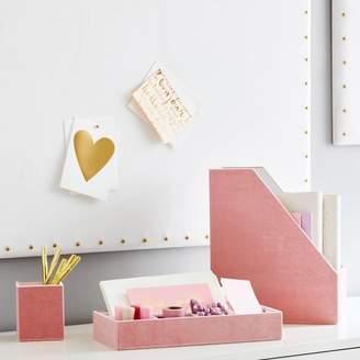 Pottery Barn Teen Velvet Desk Accessories, Set of 3, Blush
