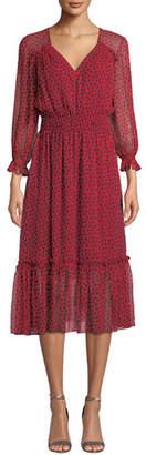 Shoshanna Eden V-Neck Smocked-Waist Silk Dress