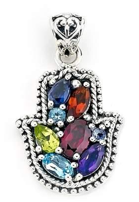 Samuel B Jewelry Sterling Silver Multi-Stone Hamsa Pendant