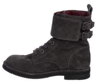 Chanel Quilted Suede Combat Boots