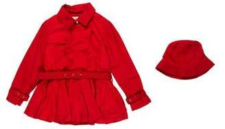 Milly Minis Girls' Double-Breasted Lightweight Coat
