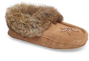 Manitobah Mukluks 'Kanada' Genuine Rabbit Fur & Suede Moccasin Slipper