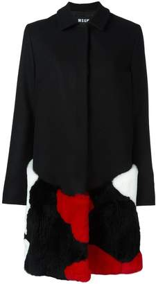 MSGM fur-embellished coat