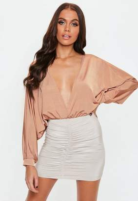 Missguided Camel Batwing Long Sleeve Bodysuit