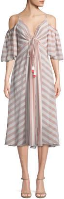 Tadashi Shoji Striped Cold-Shoulder V-Neck Dress