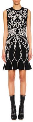 Alexander McQueen Jewel-Neck Sleeveless Art-Graphic Cocktail Dress w/ Peplum Hem
