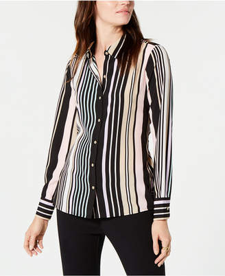 Tommy Hilfiger Striped Tie-Back Button-Up Shirt